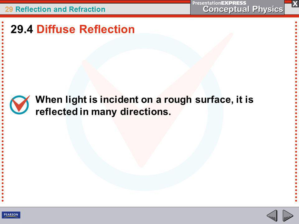 29.4 Diffuse Reflection When light is incident on a rough surface, it is reflected in many directions.