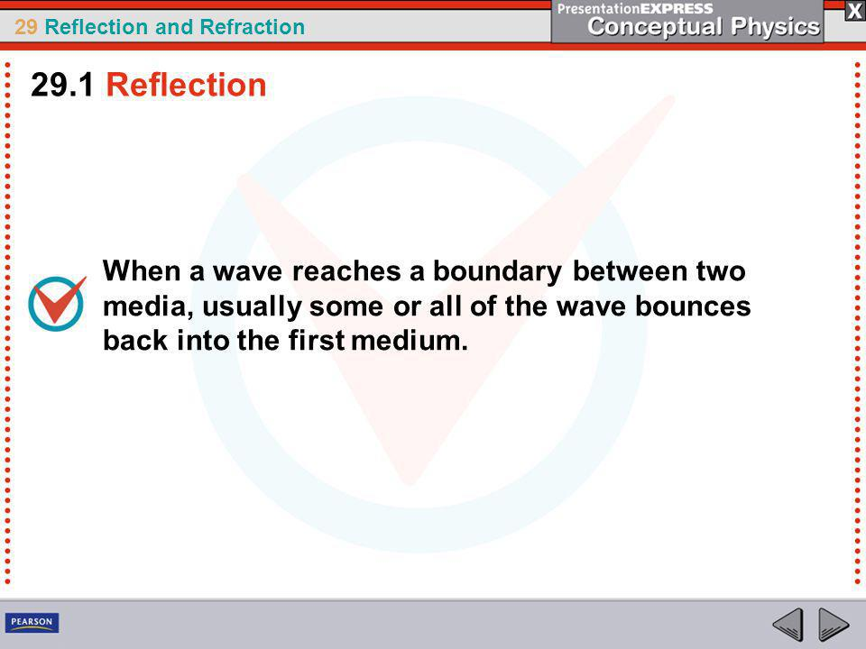 29.1 Reflection When a wave reaches a boundary between two media, usually some or all of the wave bounces back into the first medium.