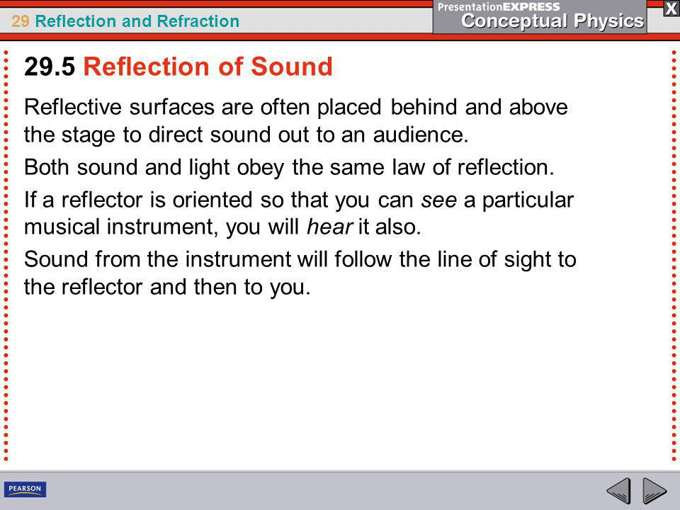 29.5 Reflection of Sound Reflective surfaces are often placed behind and above the stage to direct sound out to an audience.