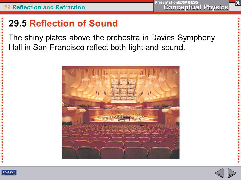 29.5 Reflection of Sound The shiny plates above the orchestra in Davies Symphony Hall in San Francisco reflect both light and sound.