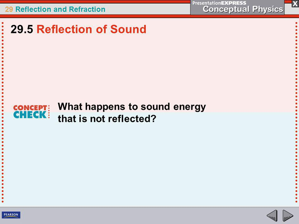 29.5 Reflection of Sound What happens to sound energy that is not reflected