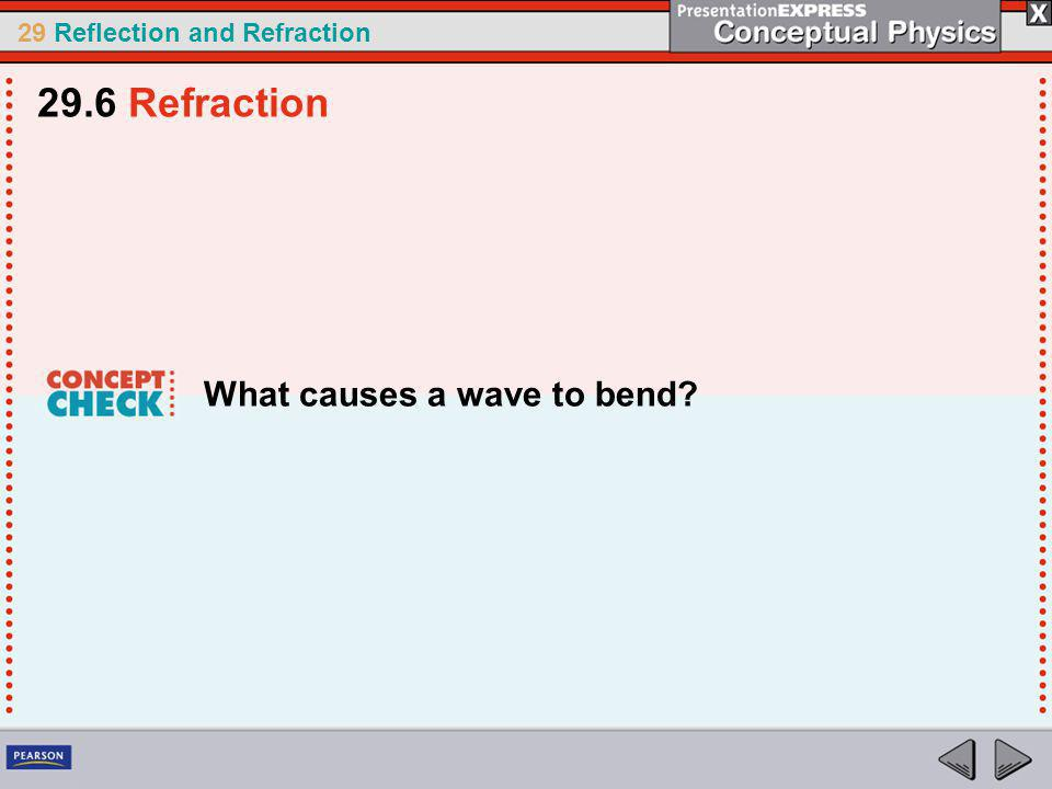 29.6 Refraction What causes a wave to bend