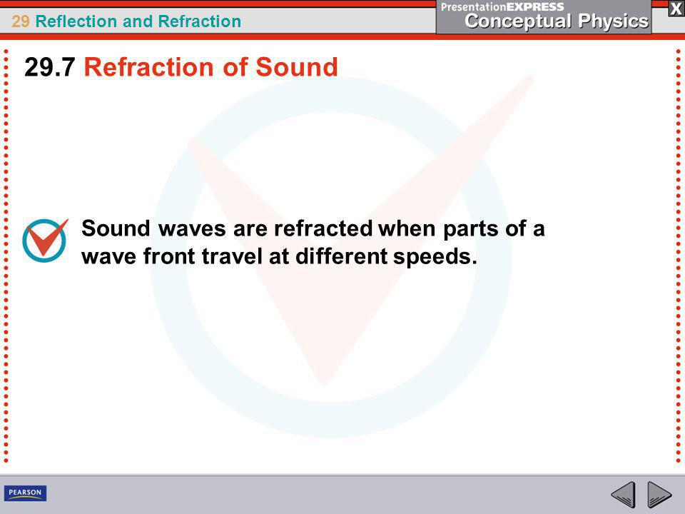 29.7 Refraction of Sound Sound waves are refracted when parts of a wave front travel at different speeds.
