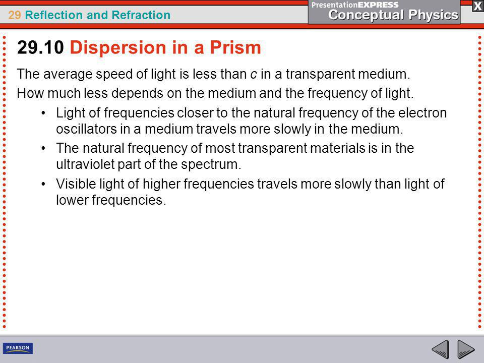 29.10 Dispersion in a Prism The average speed of light is less than c in a transparent medium.