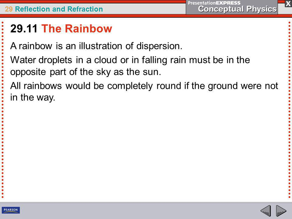 29.11 The Rainbow A rainbow is an illustration of dispersion.
