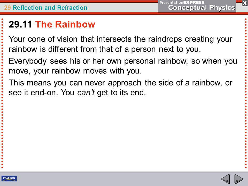 29.11 The Rainbow Your cone of vision that intersects the raindrops creating your rainbow is different from that of a person next to you.