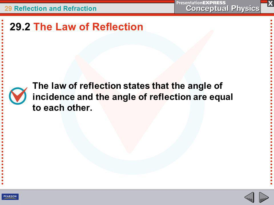 29.2 The Law of Reflection The law of reflection states that the angle of incidence and the angle of reflection are equal to each other.