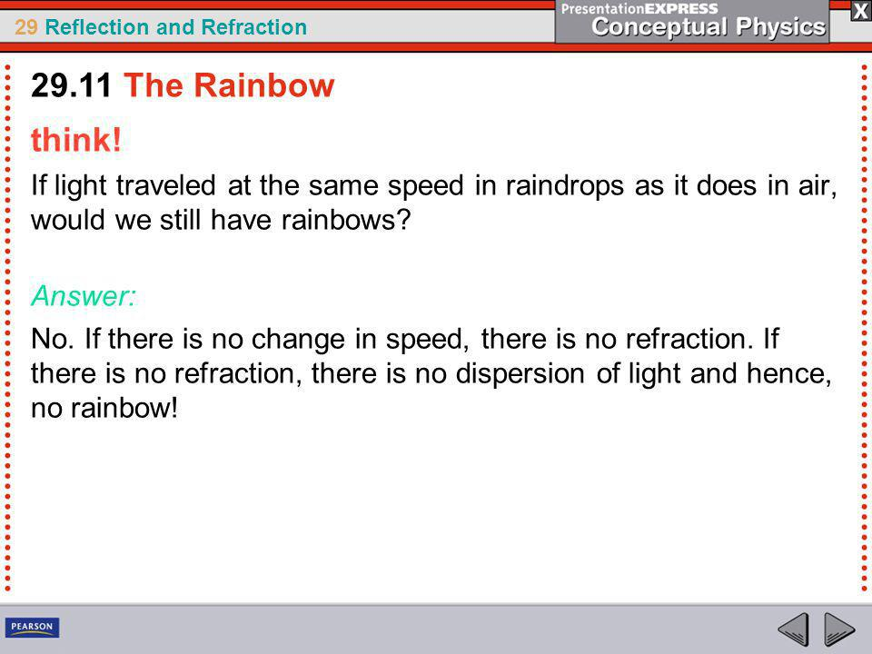 29.11 The Rainbow think! If light traveled at the same speed in raindrops as it does in air, would we still have rainbows