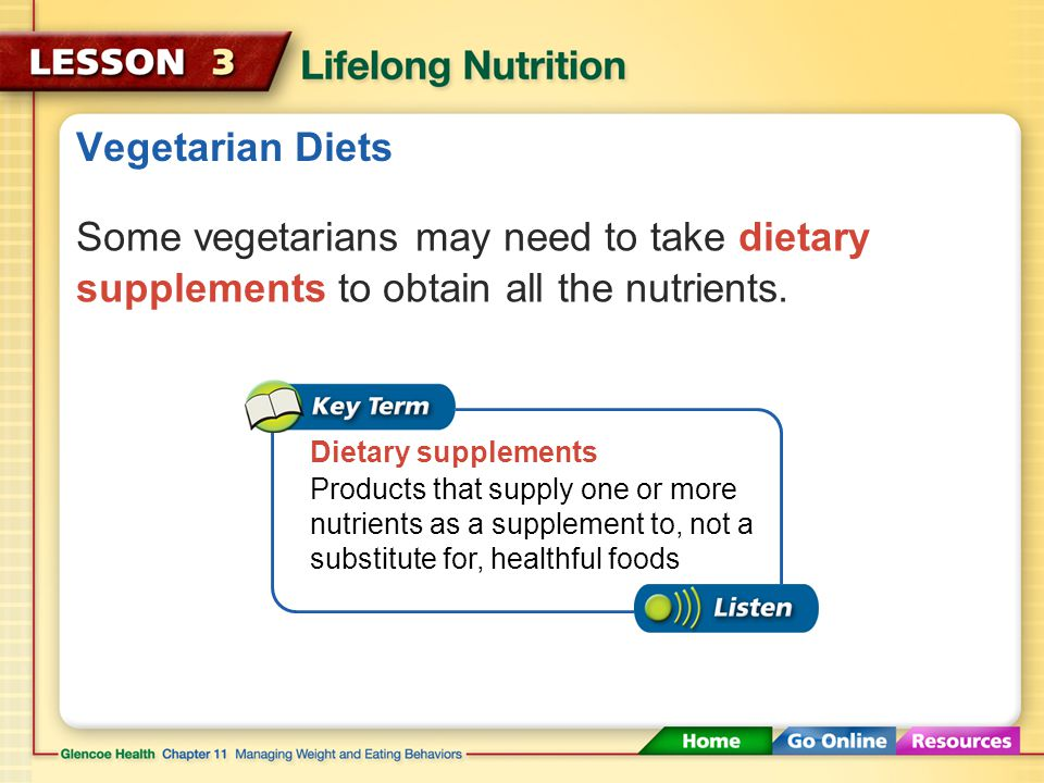 Vegetarian Diets Some vegetarians may need to take dietary supplements to obtain all the nutrients.