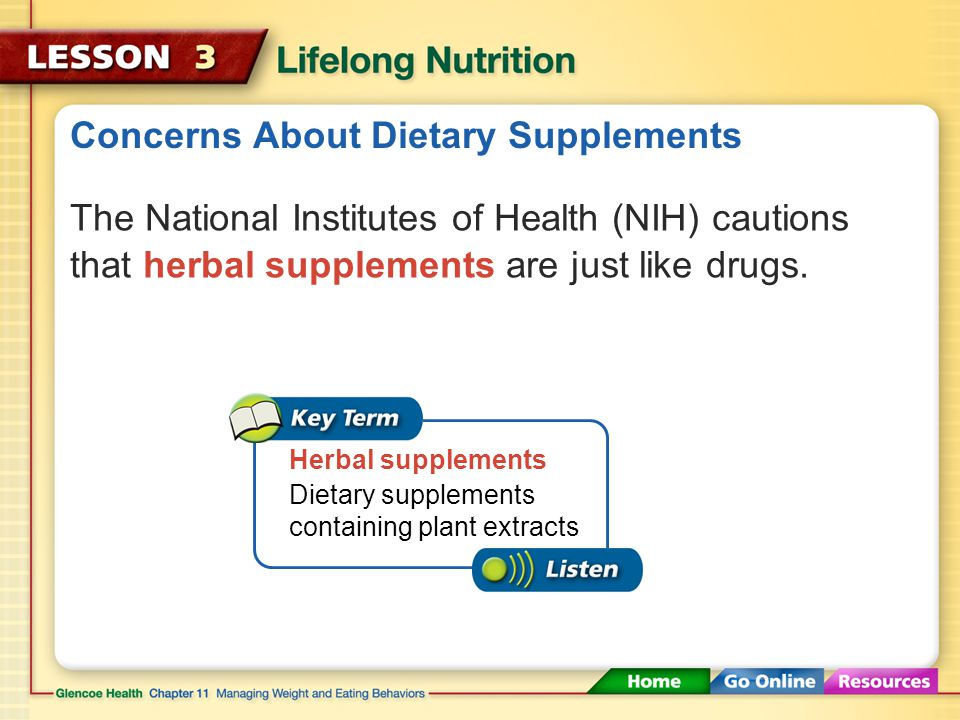 Concerns About Dietary Supplements