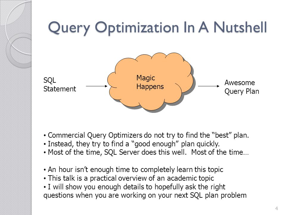 Query Optimization In A Nutshell