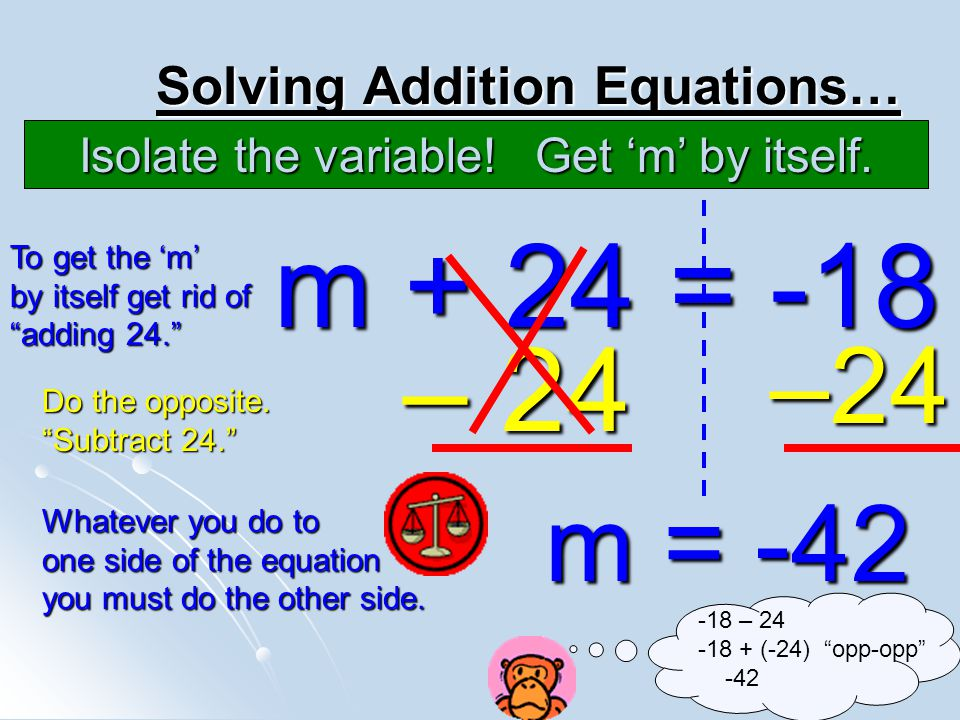 Solving Addition Equations…
