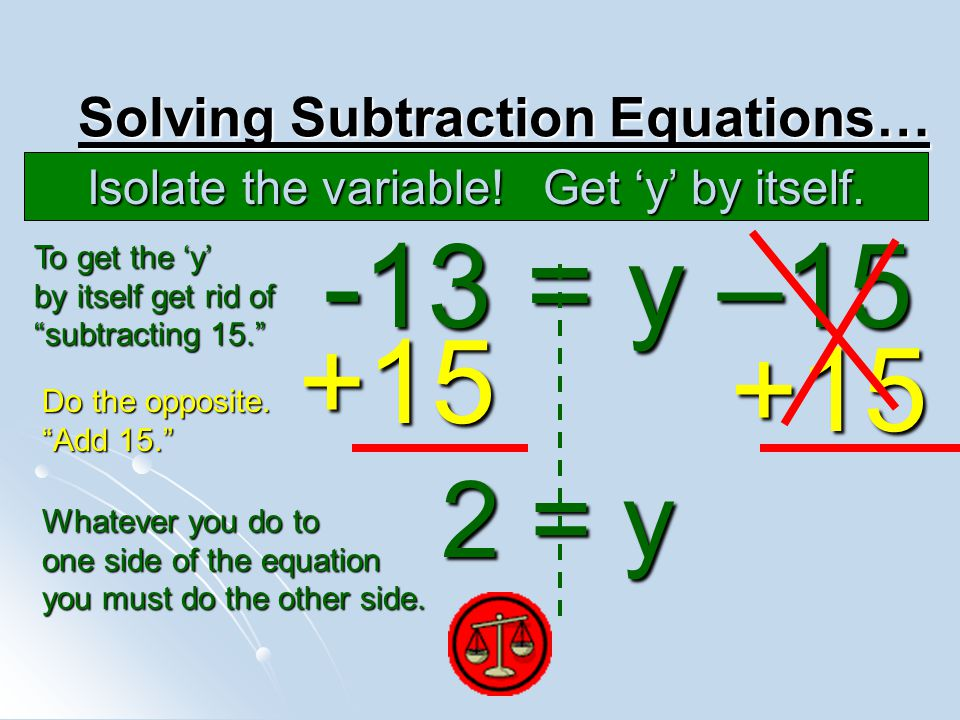 Solving Subtraction Equations…