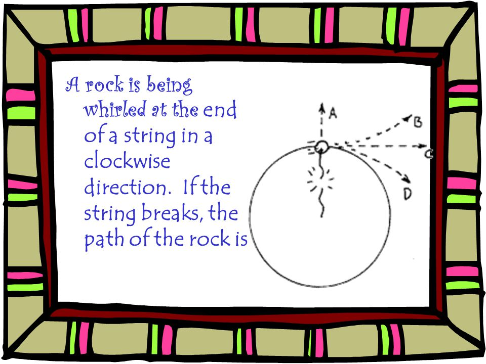 A rock is being whirled at the end of a string in a clockwise direction.