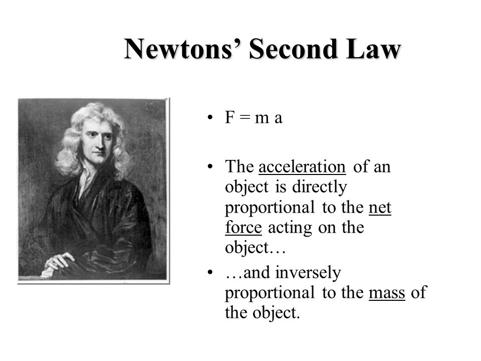 Newtons' Second Law F = m a