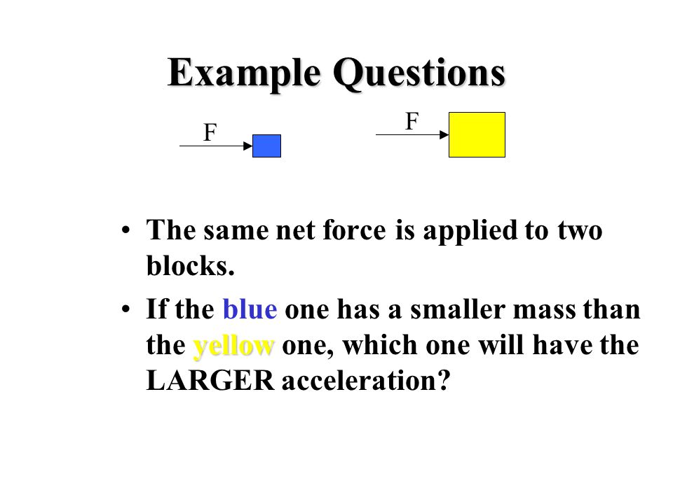 Example Questions The same net force is applied to two blocks.