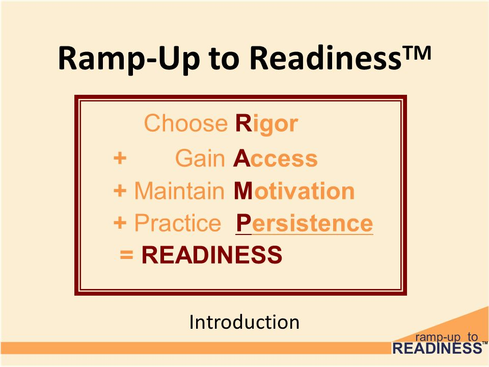 Ramp-Up to ReadinessTM