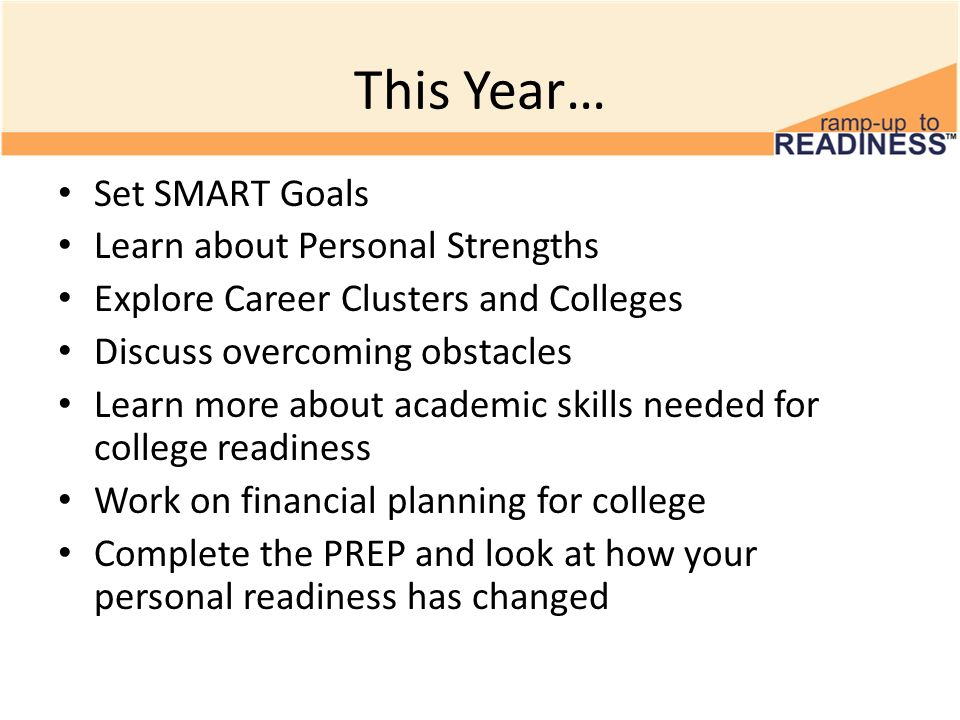 This Year… Set SMART Goals Learn about Personal Strengths