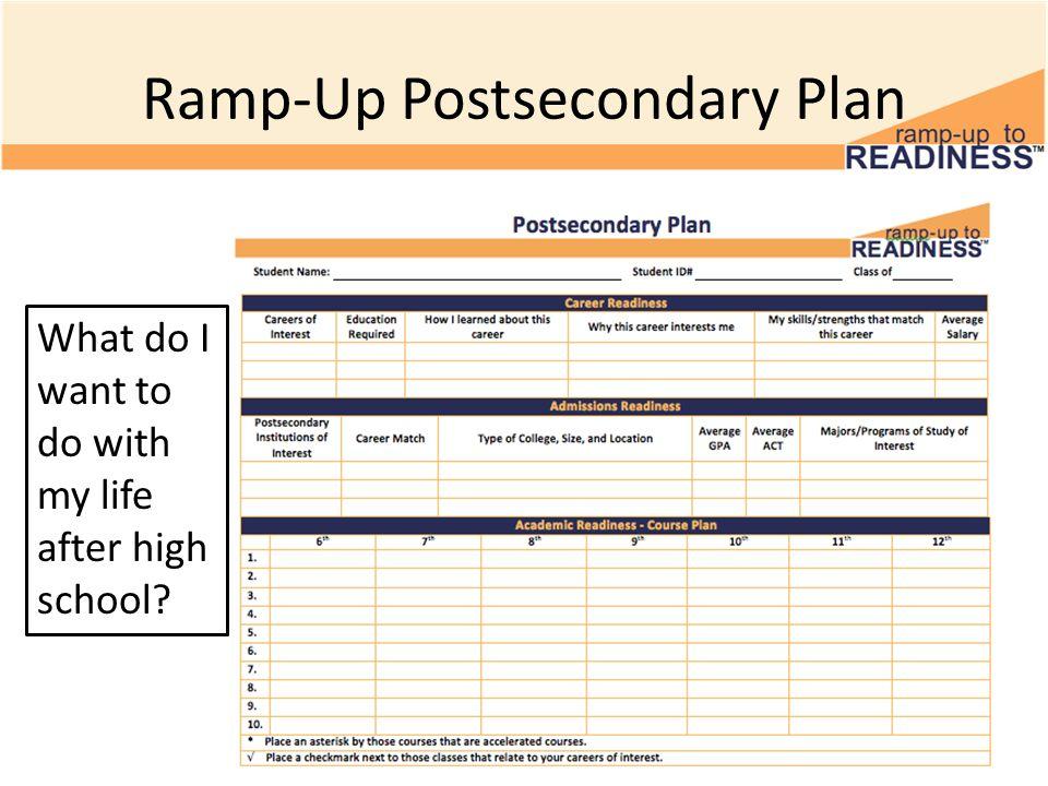 Ramp-Up Postsecondary Plan