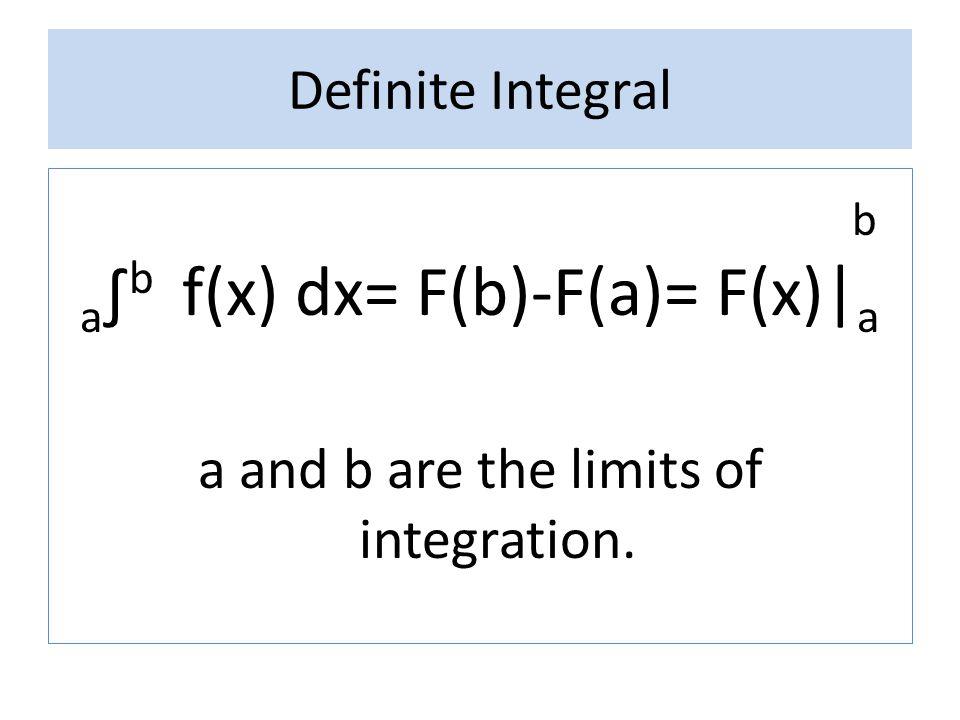 a∫b f(x) dx= F(b)-F(a)= F(x)|a