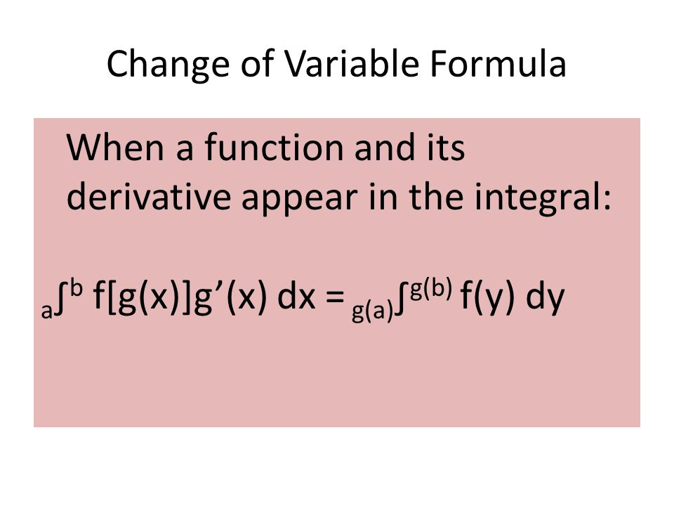 Change of Variable Formula