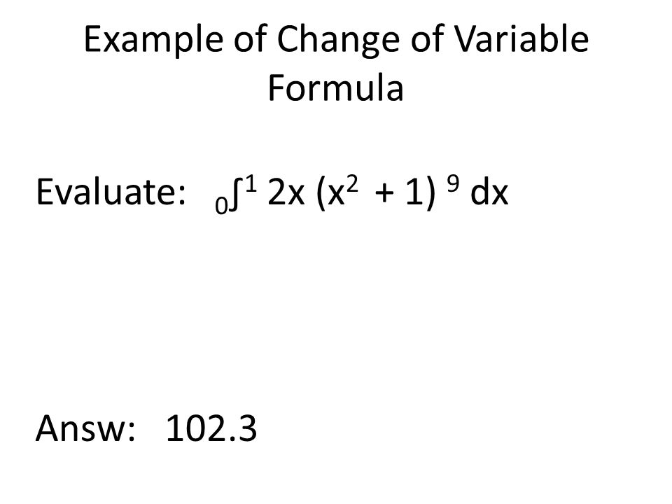 Example of Change of Variable Formula