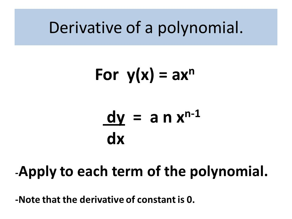 Derivative of a polynomial.