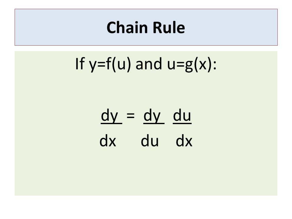 If y=f(u) and u=g(x): dy = dy du dx du dx