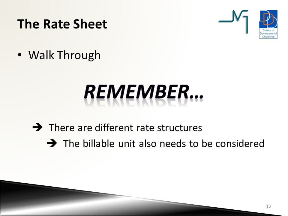 Remember… The Rate Sheet Walk Through