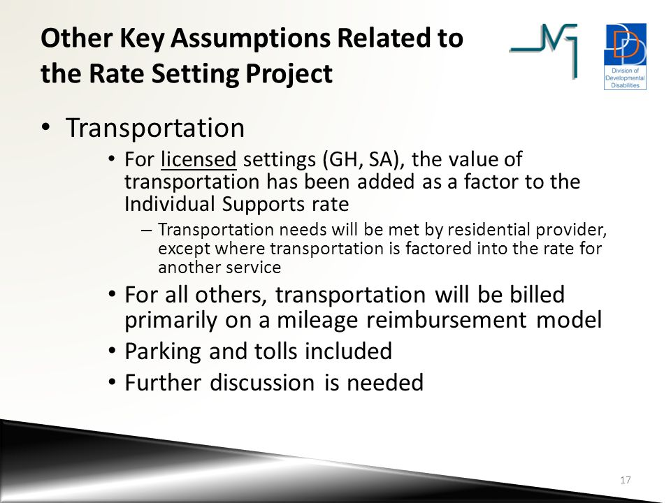 Other Key Assumptions Related to the Rate Setting Project