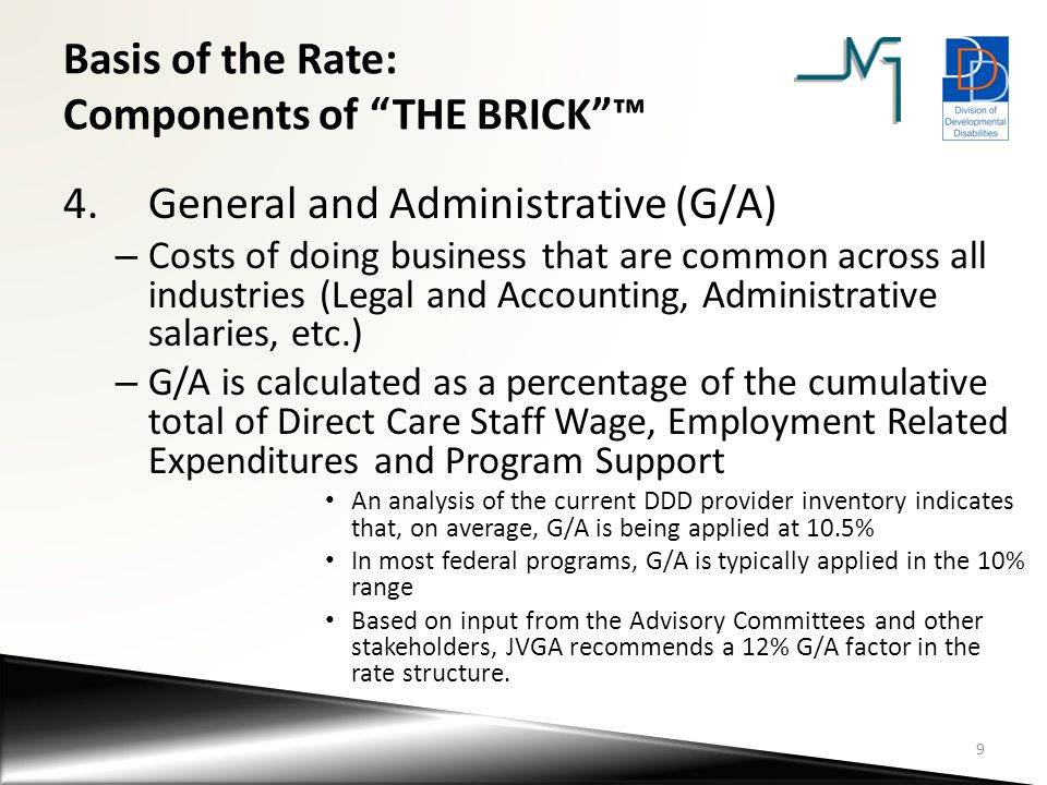 Basis of the Rate: Components of THE BRICK ™