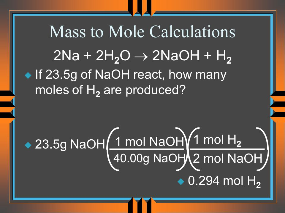 Mass to Mole Calculations