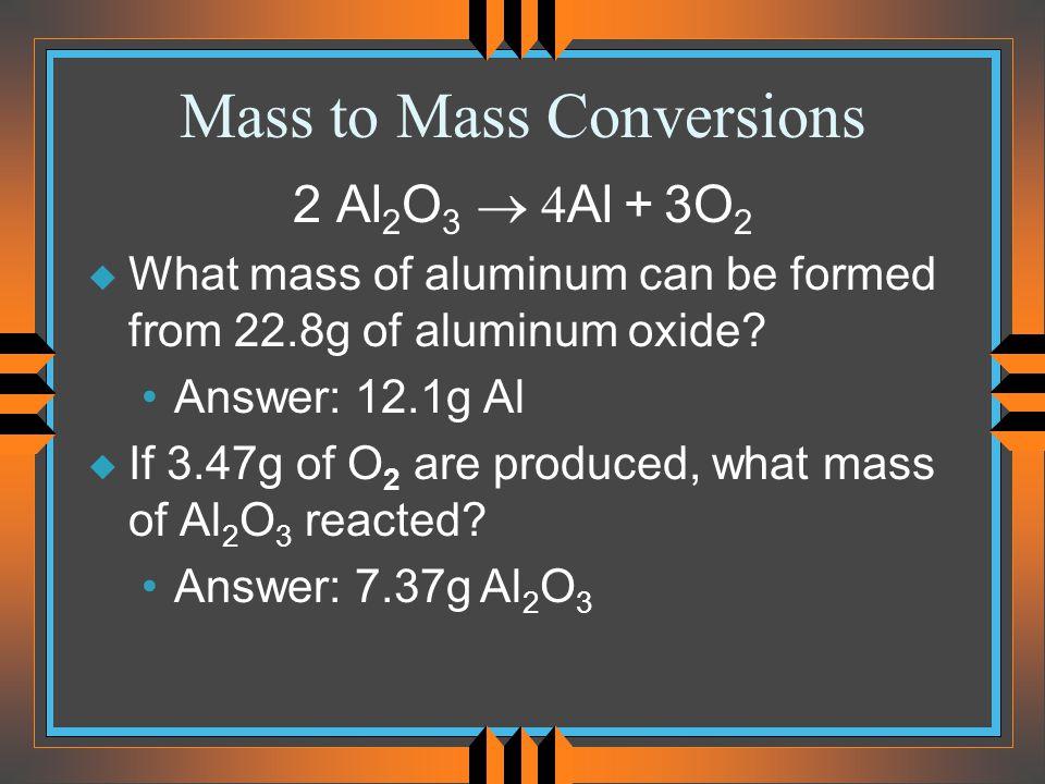 Mass to Mass Conversions
