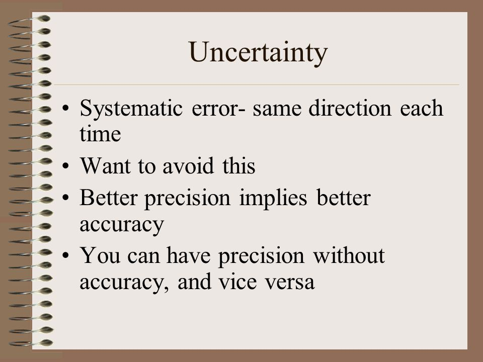 Uncertainty Systematic error- same direction each time
