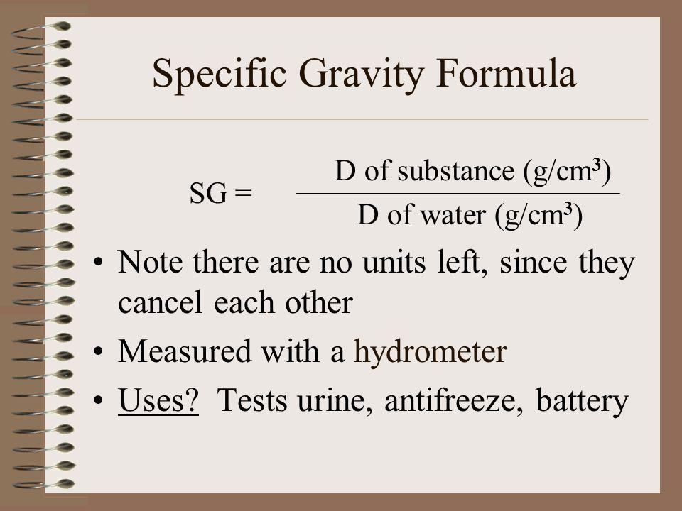 Specific Gravity Formula
