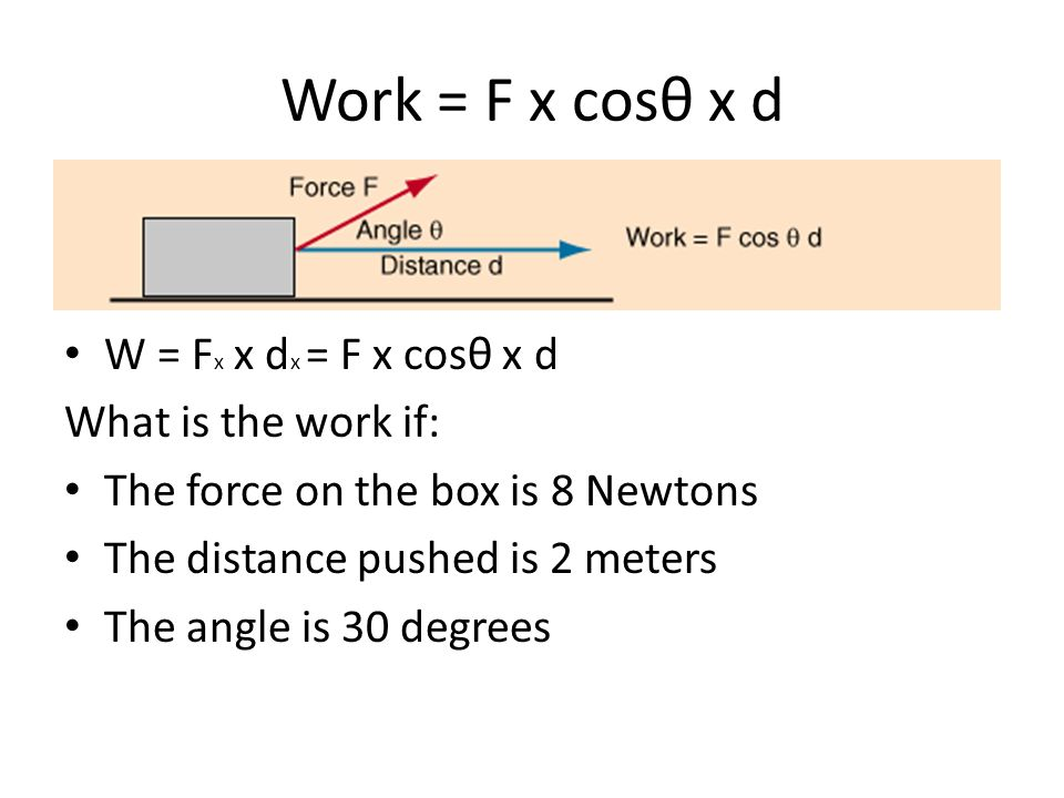 Work = F x cosθ x d W = Fx x dx = F x cosθ x d What is the work if: