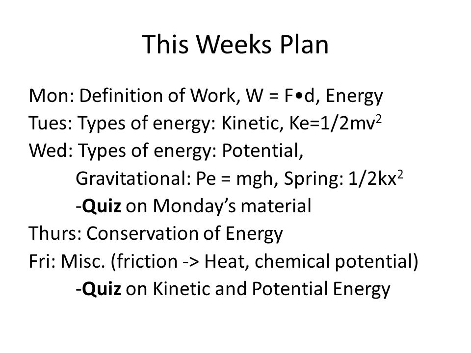This Weeks Plan