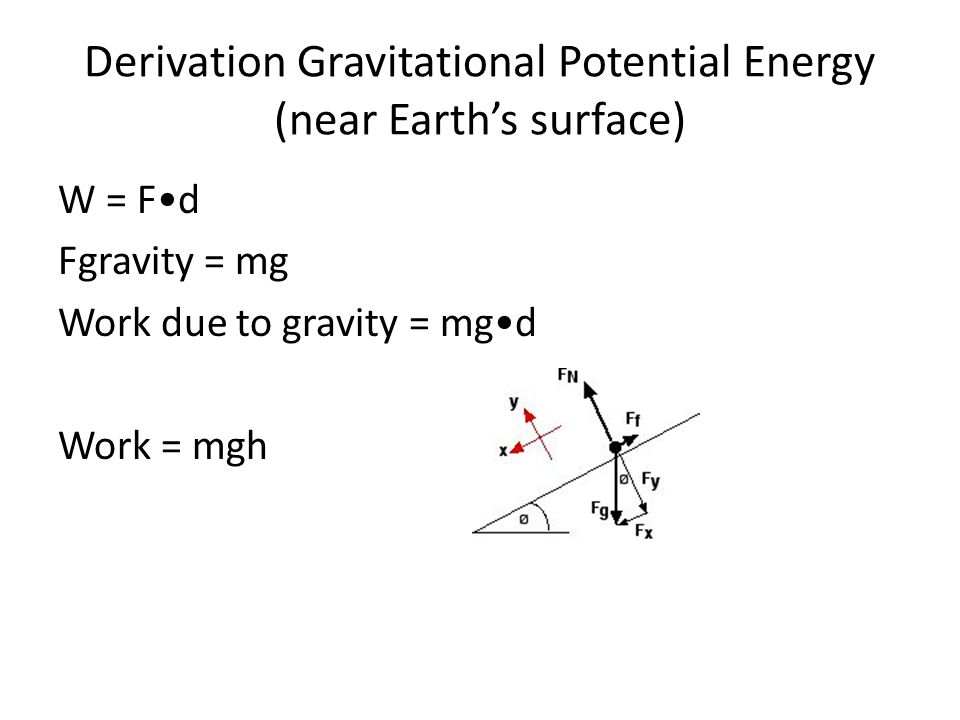 Derivation Gravitational Potential Energy (near Earth's surface)