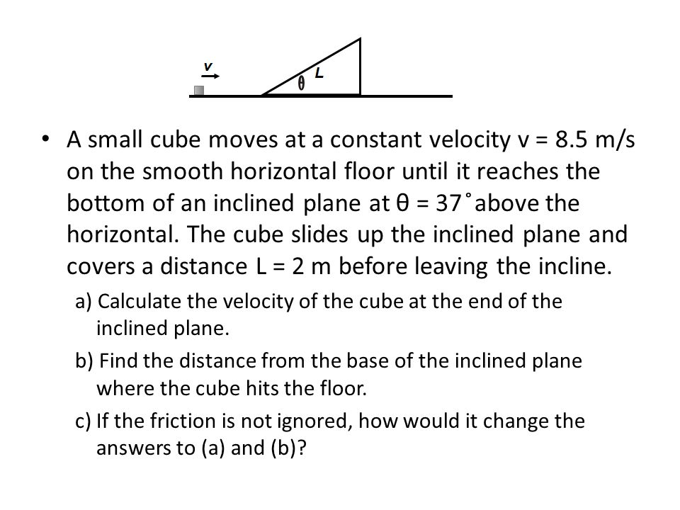 A small cube moves at a constant velocity v = 8