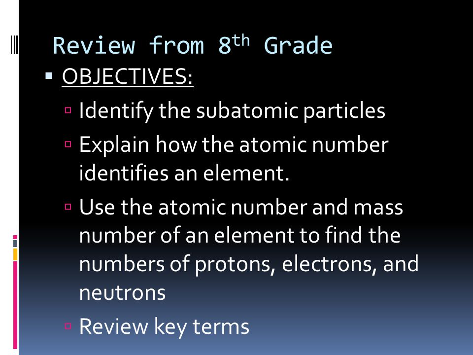 Review from 8th Grade OBJECTIVES: Identify the subatomic particles