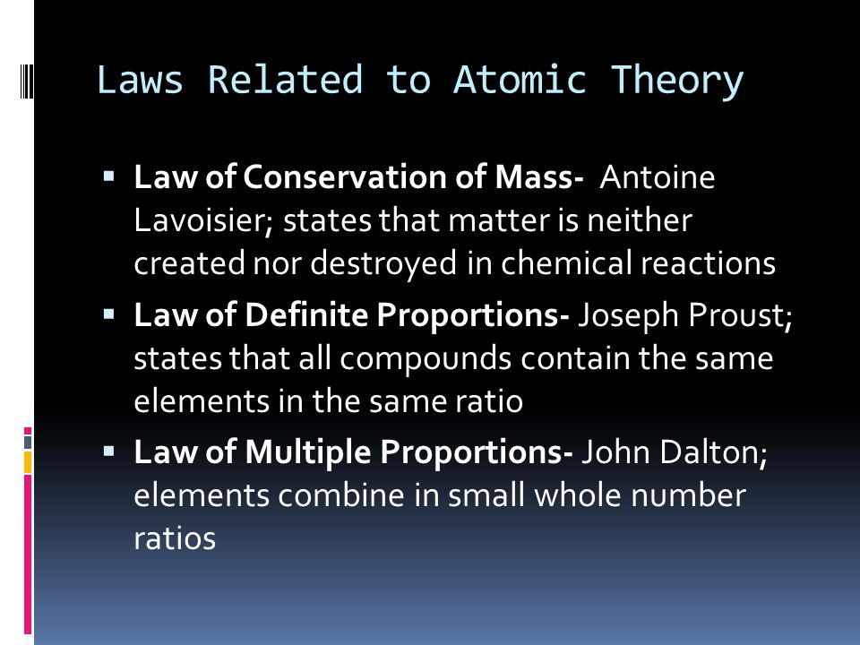 Laws Related to Atomic Theory