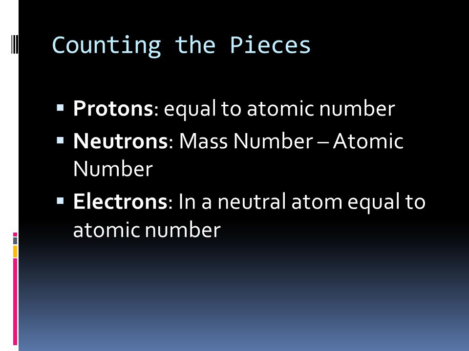 Counting the Pieces Protons: equal to atomic number