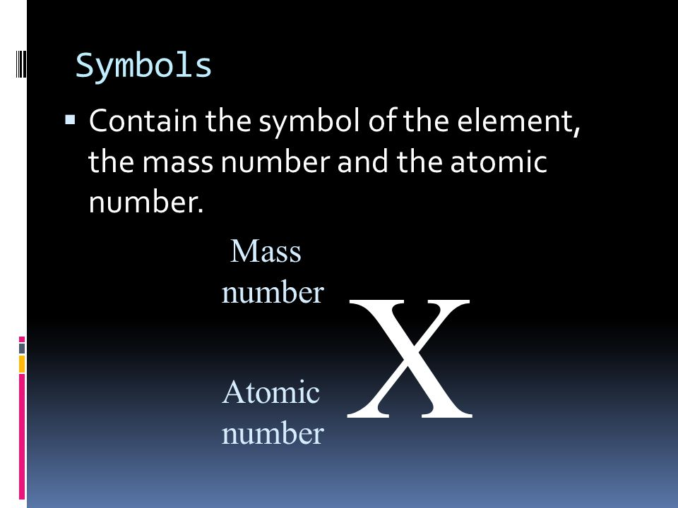 Symbols Contain the symbol of the element, the mass number and the atomic number. Mass. number.