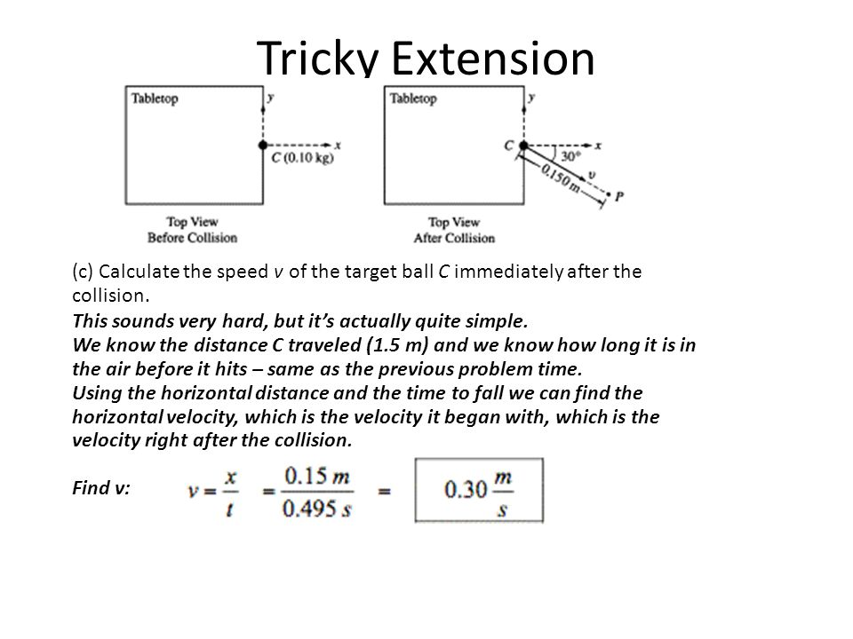 Tricky Extension (c) Calculate the speed v of the target ball C immediately after the collision.