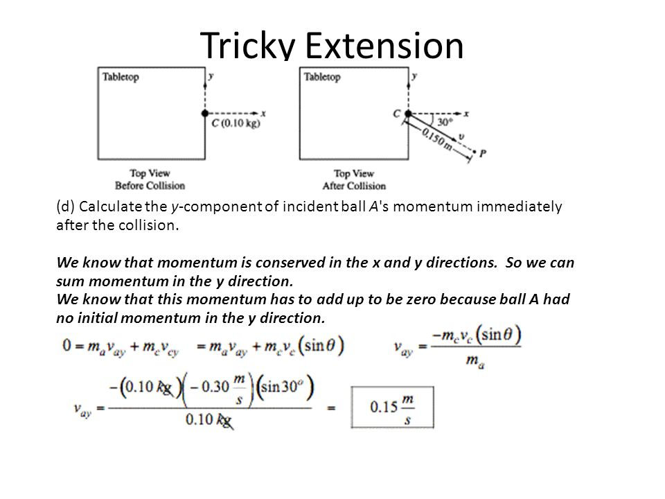 Tricky Extension (d) Calculate the y-component of incident ball A s momentum immediately after the collision.
