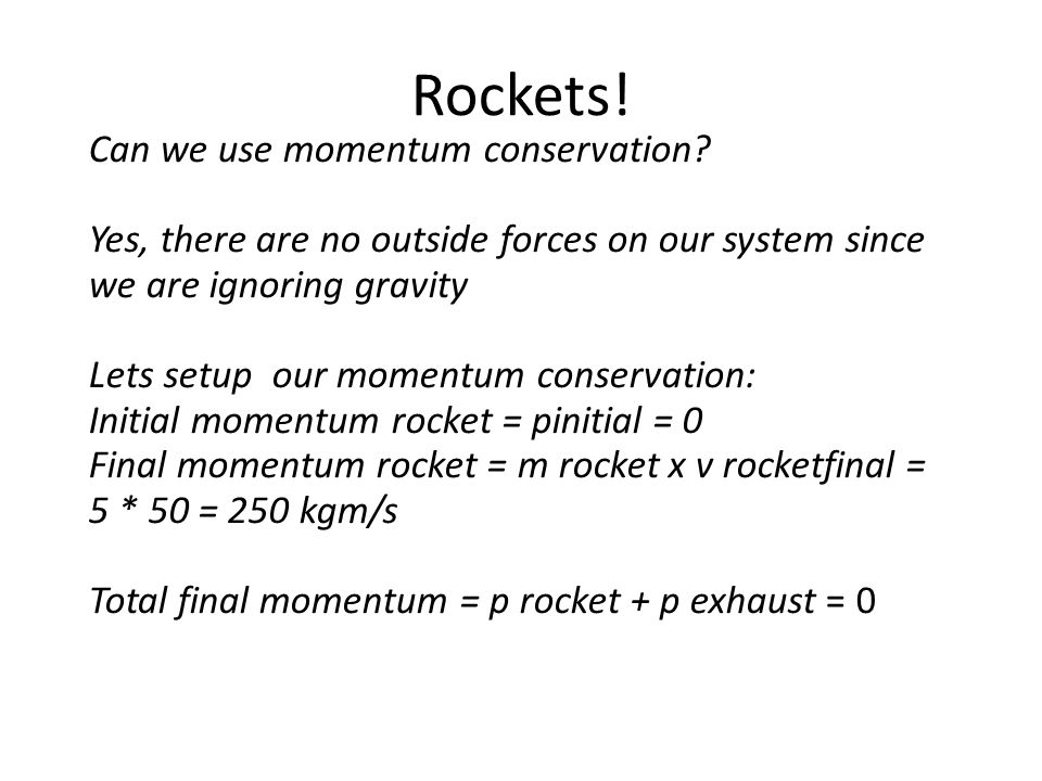 Rockets! Can we use momentum conservation