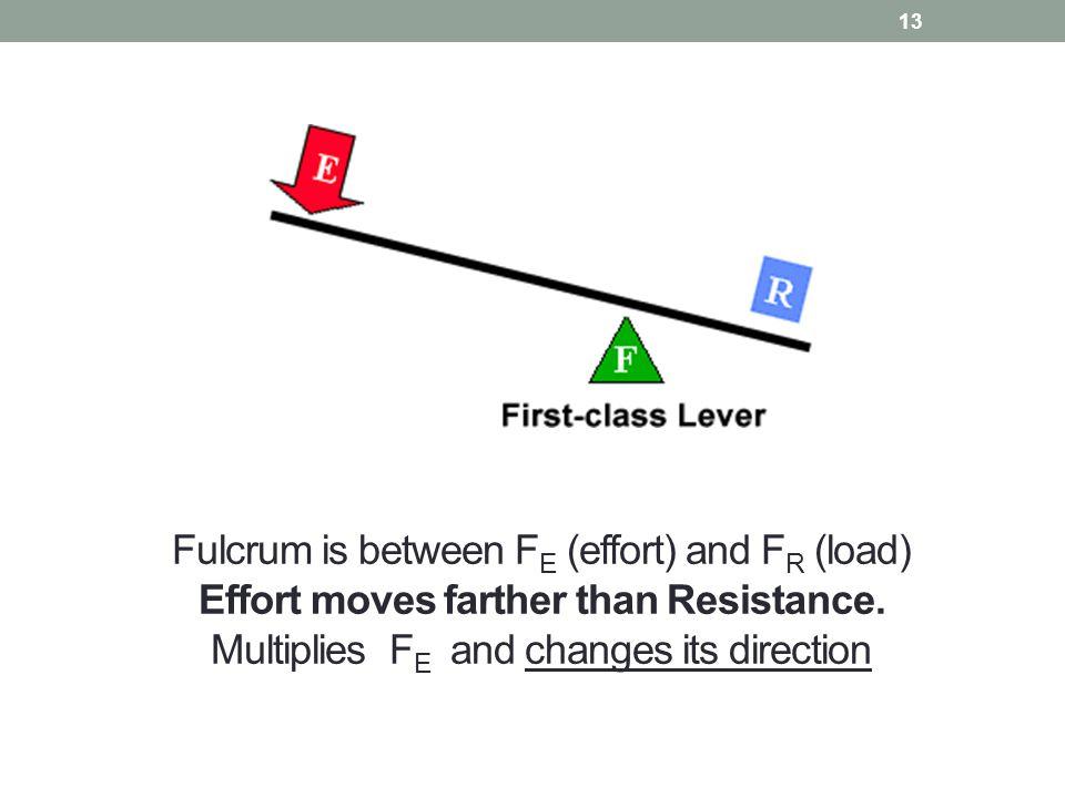 Fulcrum is between FE (effort) and FR (load) Effort moves farther than Resistance.