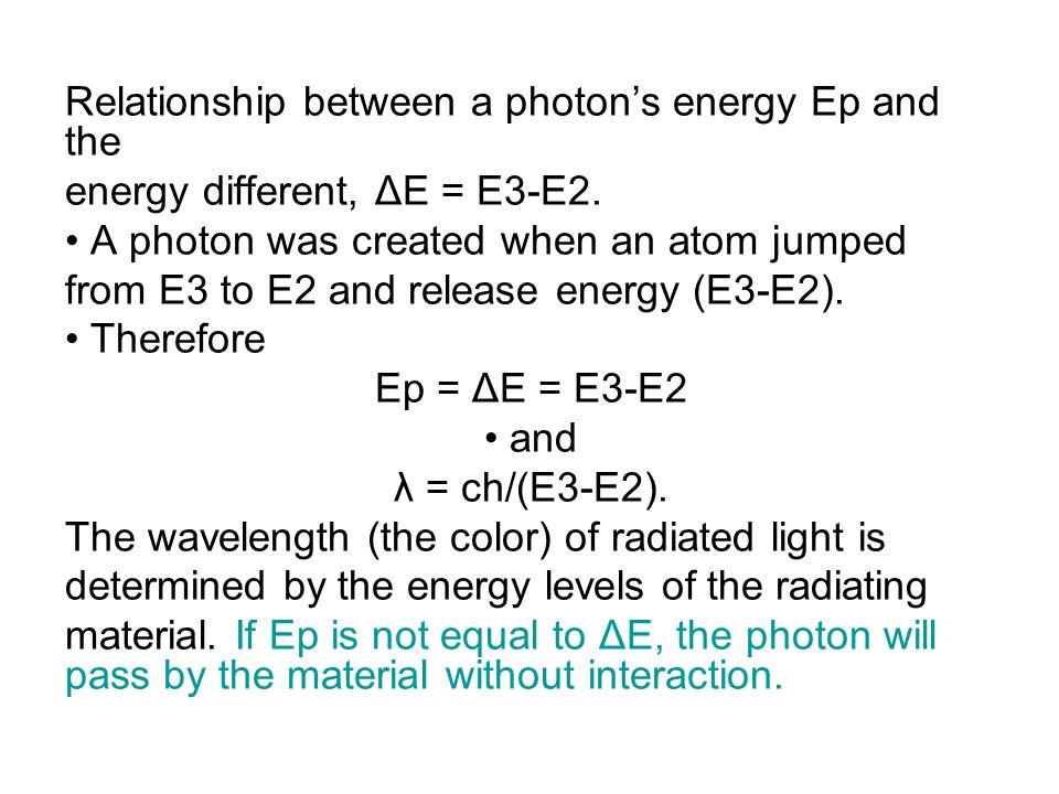 Relationship between a photon's energy Ep and the