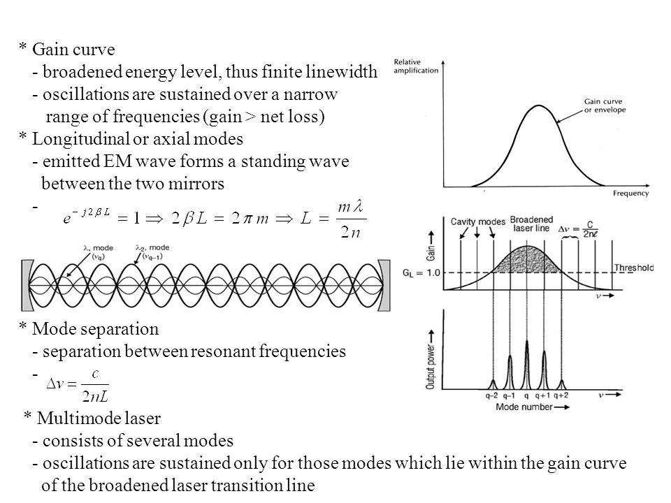 * Gain curve - broadened energy level, thus finite linewidth. - oscillations are sustained over a narrow.