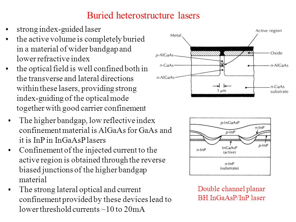 Buried heterostructure lasers